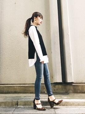 MURUA 札幌4丁目プラザ|moeさんの「スタンダードスキニーデニムパンツ(MURUA|ムルーア)」を使ったコーディネート
