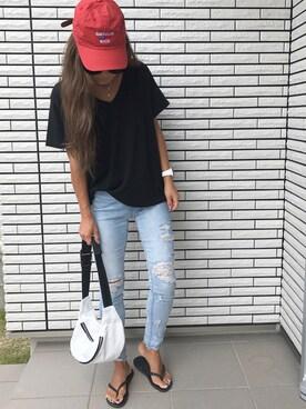 12anna23さんの「ガーゼタッチGネックTシャツ(GYDA|ジェイダ)」を使ったコーディネート