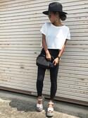 12anna23さんの「ショートビッグTシャツ(EMODA|ムルーア)」を使ったコーディネート