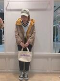 杉本  奈々子さんの「LOGO CAP(キャップ/ベースボールキャップ/ロゴ)(MILKFED.|ミルクフェド)」を使ったコーディネート