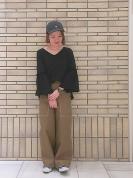 MILKFED. AT HEAVEN27 名古屋|杉本  奈々子さんの「COTTON SEERSUCKER FLARE SLEEVE TOP(MILKFED.|ミルクフェド)」を使ったコーディネート