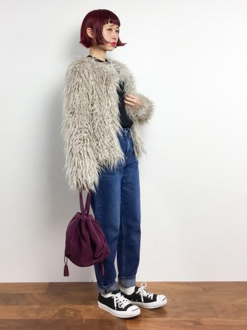 チョコビさんの「スエード巾着ハンドバッグ【PLAIN CLOTHING】(PLAIN CLOTHING)」を使ったコーディネート