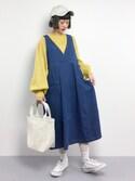 チョコビさんの「カシュクールデニムジャンパースカート2091(merlot|メルロー)」を使ったコーディネート