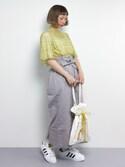 チョコビさんの「ハイウエストリボンスカート4929(merlot|メルロー)」を使ったコーディネート