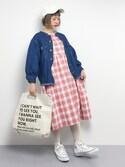 チョコビさんの「ノーカラーボリューム袖Gジャン(natural couture|ナチュラルクチュール)」を使ったコーディネート