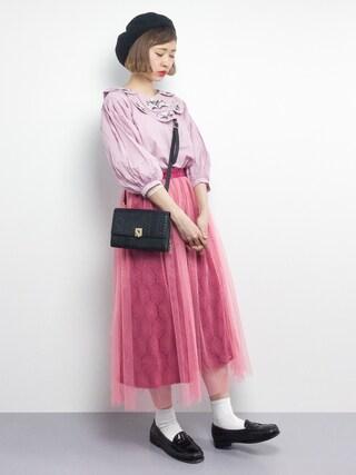 「すずらん刺繍フラワー襟ブラウス9206(merlot)」 using this ZOZOTOWN|チョコビ looks