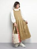 チョコビさんの「ウエストリボンタックジャンパースカート2299(merlot|メルロー)」を使ったコーディネート