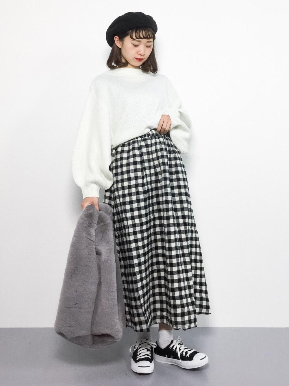 ギンガムチェック×ロングスカート