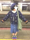ぺつ.さんの「ストレッチ入インディゴデニム前あきタイトスカート(w closet ダブルクローゼット)」を使ったコーディネート