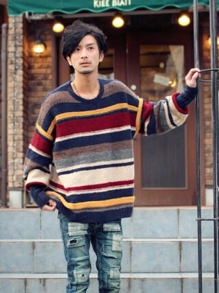 「Creed border knit(glamb)」 using this yoshi looks