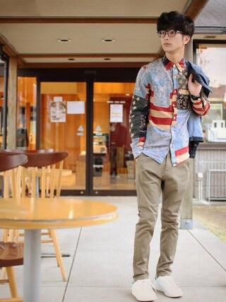yoshiさんの「ワード アメリカーナ コットン シャツ(DENIM & SUPPLY|デニム&サプライ)」を使ったコーディネート