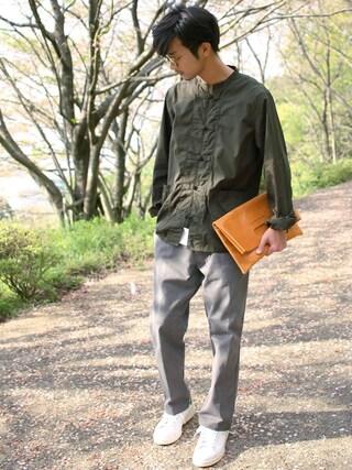 「コットンダンプ 長袖カンフーシャツ(SEVENDAYS=SUNDAY)」 using this yoshi looks