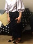 MI_KOさんの「ストレッチデニムナロースカート(w closet|ダブルクローゼット)」を使ったコーディネート