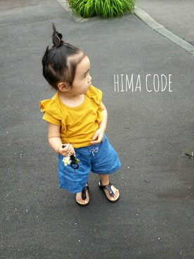 ひぃちゃんさんの「【キッズ】ショルダーフリルT半袖/746577(GLOBAL WORK|シマムラ)」を使ったコーディネート