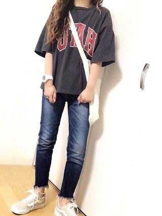 めるもさんの「綿アソートロゴTシャツ【niko and ...】(niko and... ニコアンド)」を使ったコーディネート