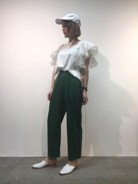 MIDWEST TOKYO WOMEN|MIYUさんの「muller of yoshiokubo フレアスリーブTシャツ(muller of yoshiokubo)」を使ったコーディネート