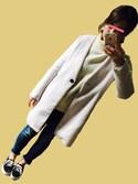 tomo.さんの「美ラインシルエット★シャギー起毛素材ポケット付き長袖ノーカラーコート(select MOCA|セレクトモカ)」を使ったコーディネート