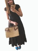 tomo.さんの「《予約》MARIHA ソウゲンノニジノドレス ショートスリーブ(無地)◆(IENA|ディーホリック)」を使ったコーディネート