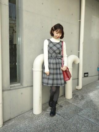 F i.n.t Daikanyama Fi.n.tdaikanyamaさんの「起毛チェックパイピングワンピース/F i.n.t(F i.n.t フィント)」を使ったコーディネート
