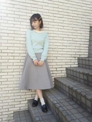 F i.n.t Daikanyama Fi.n.tdaikanyamaさんの「バックリボンケーブル編みニットプルオーバー/F&A(F i.n.t フィント)」を使ったコーディネート