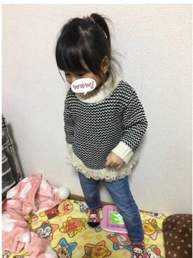 m-maさんの「裾ループ゚編み柄ニット(petit main)」を使ったコーディネート