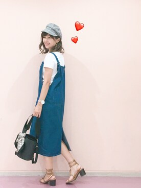 serina♡ママコーデさんの「クルーネックT(半袖)(ユニクロ)」を使ったコーディネート