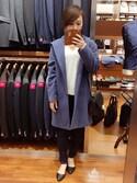 satsukiさんの「WOMEN カシミヤVネックセーター(長袖)(ユニクロ|ユニクロ)」を使ったコーディネート