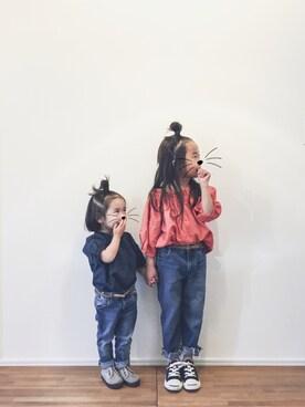 CIAOPANIC TYPY yuyuemさんのシャツ/ブラウス「【ママとお揃い】オフショルダー3ウェイブラウス(CIAOPANIC TYPY チャオパニックティピー)」を使ったコーディネート