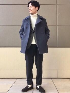 Yuta Sakamotoさんの「【Begin 2018年1月号掲載】NM K S120モッサ Pコート / ピーコート(green label relaxing)」を使ったコーディネート