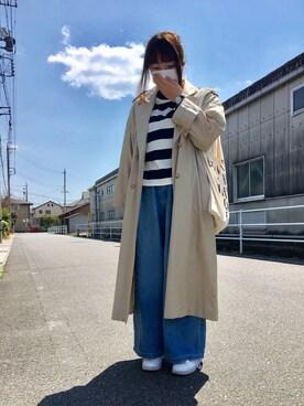 つみきさんの「WOMEN ボーダーモックネックT(9分袖)(ユニクロ|ユニクロ)」を使ったコーディネート