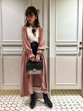 Heather 高崎モントレー店 suzuka_akutsuさんの「ベロアロングガウン長袖 771024(Heather)」を使ったコーディネート