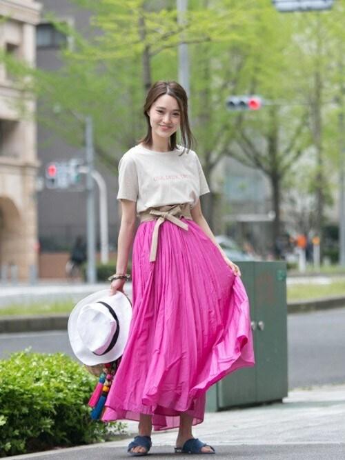 yukinaさんの「UR コットンシルクギャザースカート(URBAN RESEARCH)」を使ったコーディネート