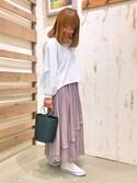 Miwa Uedaさんの「アシンメトリーラッププリーツスカート(CIAOPANIC TYPY チャオパニックティピー)」を使ったコーディネート