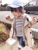 yuu☆さんの「ベーシックトレンチコート(petit main プティマイン)」を使ったコーディネート