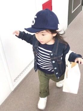yuu☆さんの「ストレッチデニムGジャン(BRANSHES|ブランシェス)」を使ったコーディネート
