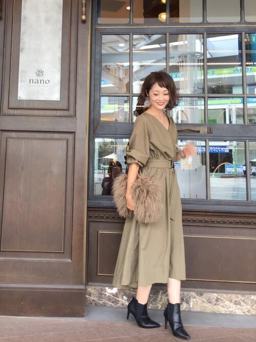 syk***さんの「カシュクール共ベルトワンピース(natural couture)」を使ったコーディネート