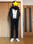たけさんの「MEN ケーブルクルーネックセーター(長袖)(ユニクロ|ユニクロ)」を使ったコーディネート