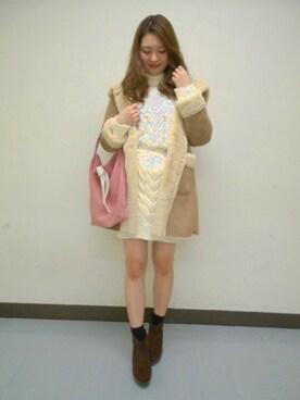 Heather 横浜ジョイナス|Heather横浜ジョイナス店 STAFF2さんの「Fムートンフードコート 767138(Heather)」を使ったコーディネート