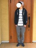 KANさんの「MEN ジョガーパンツ(ウールライク・レングス68~72cm)(ユニクロ|ユニクロ)」を使ったコーディネート