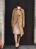 神谷瑠奈さんの「ボタンレス前開き・トレンチコート/テロンチ(philter|フィルター)」を使ったコーディネート