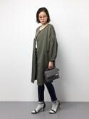mihiroさんの「ボリューム袖ノーカラーコート(natural couture|ナチュラルクチュール)」を使ったコーディネート