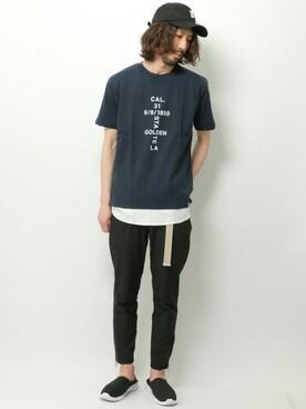 ikka 越谷店 きたださんの「カリフォルニアコットンプリントTシャツ(ikka)」を使ったコーディネート