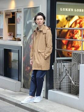 EDIFICE TOKYO 渋谷店|KIMさんのステンカラーコート「◇WATER PROOF フードステンコート(417 EDIFICE|フォーワンセブン エディフィス)」を使ったコーディネート