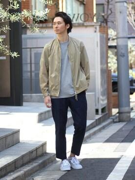 EDIFICE TOKYO 渋谷店|KIMさんのTシャツ/カットソー「◇TOPテンジク クルーネックショートスリーブ(417 EDIFICE|フォーワンセブン エディフィス)」を使ったコーディネート
