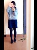 ゆりかさんの「デニムコクーンスカート(w closet ダブルクローゼット)」を使ったコーディネート