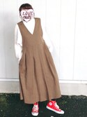 ♡kkk♡さんの「KBF BIGプリーツジャンパースカート(KBF|ケイビーエフ)」を使ったコーディネート