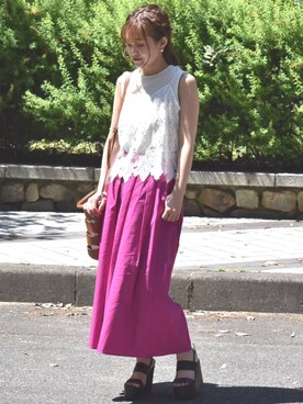 Eimee Law & WASH ZOZOTOWN店|tsurumayu☆さんの「リブノースリーブカットソー(LHELBIE)」を使ったコーディネート