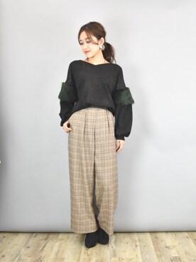 Eimee Law & WASH ZOZOTOWN店|tsurumayu☆さんの「ファー付きラメニットソー(Eimee Law)」を使ったコーディネート