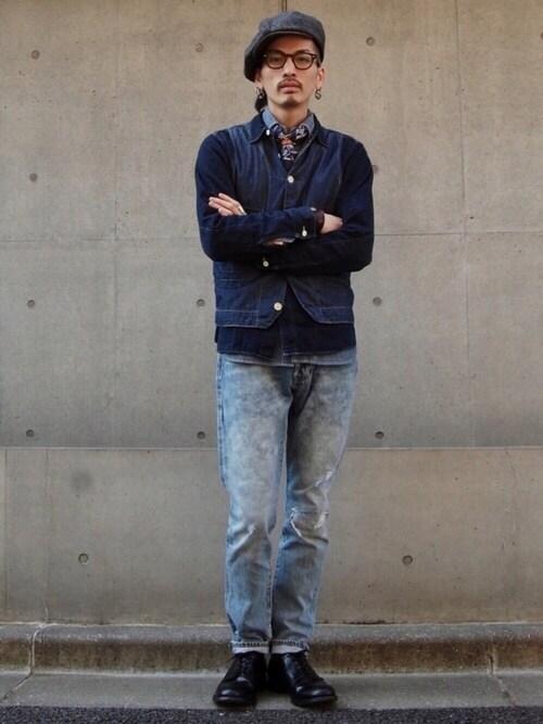 ワークシャツ×ベスト×スリムジーンズ