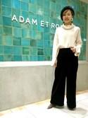Emilyさんの「ベルベットイージーワイドパンツ(ADAM ET ROPE'|アダム エ ロペ)」を使ったコーディネート